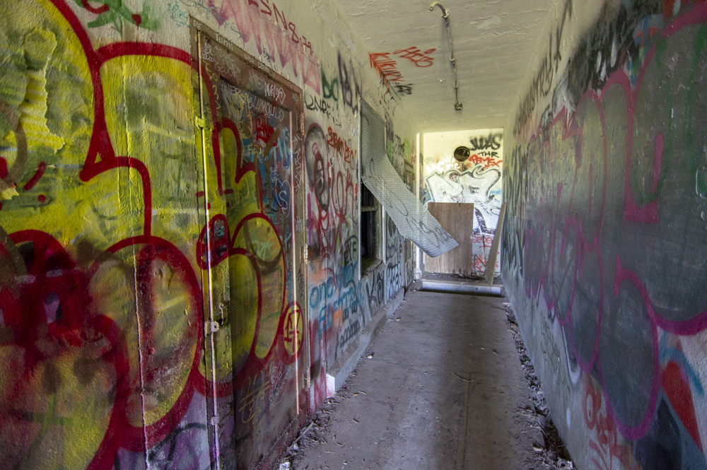 Looking down the hallway from the door
